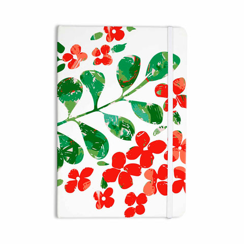 "Laura Nicholson ""Watercolor Floral"" Red Green Floral Nature Watercolor Illustration Everything Notebook"