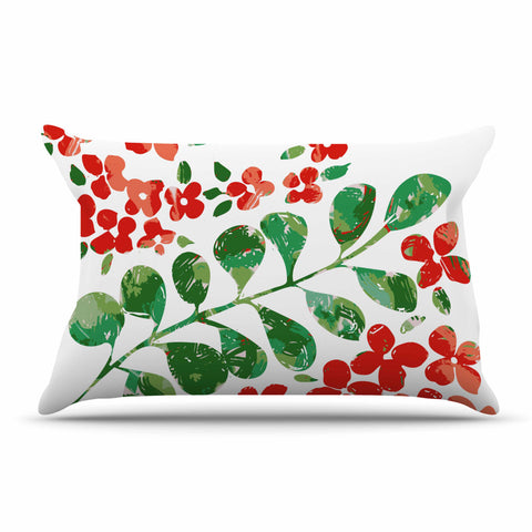 "Laura Nicholson ""Watercolor Floral"" Red Green Floral Nature Watercolor Illustration Pillow Sham"