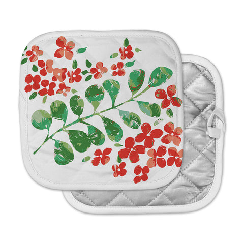 "Laura Nicholson ""Watercolor Floral"" Red Green Floral Nature Watercolor Illustration Pot Holder"