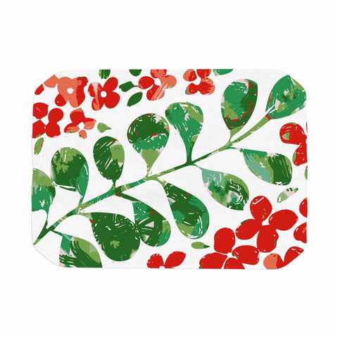 "Laura Nicholson ""Watercolor Floral"" Red Green Floral Nature Watercolor Illustration Place Mat"