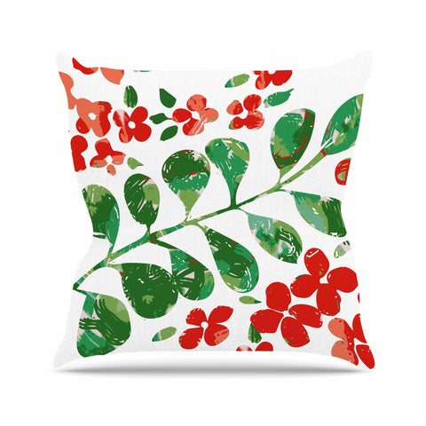 "Laura Nicholson ""Watercolor Floral"" Red Green Floral Nature Watercolor Illustration Outdoor Throw Pillow"