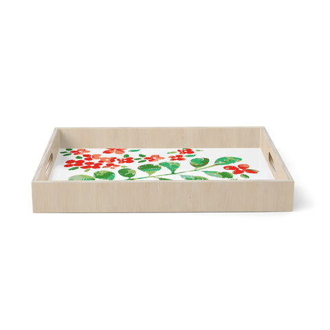 "Laura Nicholson ""Watercolor Floral"" Red Green Floral Nature Watercolor Illustration Birchwood Tray"