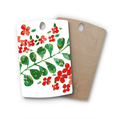 "Laura Nicholson ""Watercolor Floral"" Red Green Floral Nature Watercolor Illustration Rectangle Wooden Cutting Board"