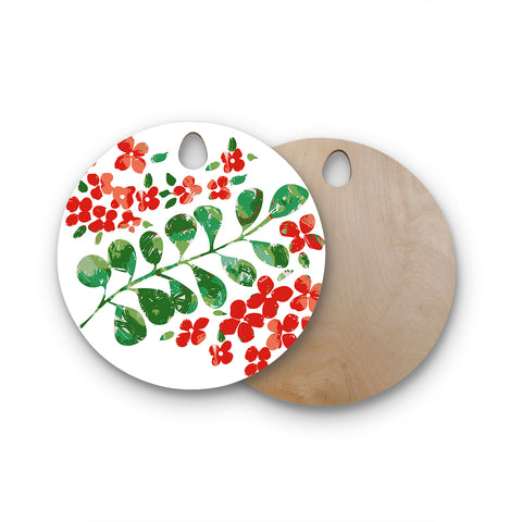 "Laura Nicholson ""Watercolor Floral"" Red Green Floral Nature Watercolor Illustration Round Wooden Cutting Board"