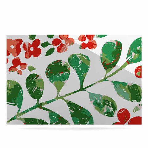 "Laura Nicholson ""Watercolor Floral"" Red Green Floral Nature Watercolor Illustration Luxe Rectangle Panel"