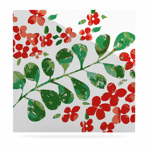 "Laura Nicholson ""Watercolor Floral"" Red Green Floral Nature Watercolor Illustration Luxe Square Panel"
