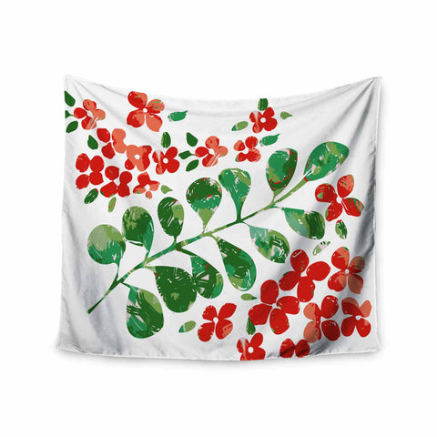 "Laura Nicholson ""Watercolor Floral"" Red Green Floral Nature Watercolor Illustration Wall Tapestry"
