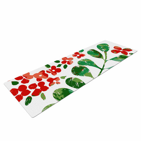 "Laura Nicholson ""Watercolor Floral"" Red Green Floral Nature Watercolor Illustration Yoga Mat"