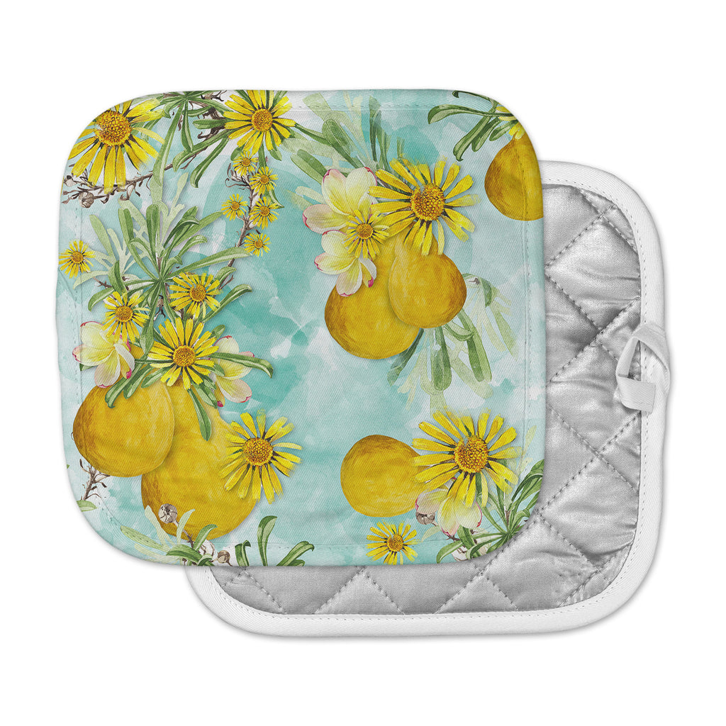 "Liz Perez ""Sunny Day"" Yellow Floral Pot Holder"