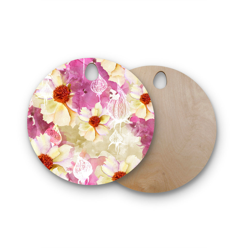 "Liz Perez ""SWEET FLORIST"" Cream Pink Round Wooden Cutting Board"