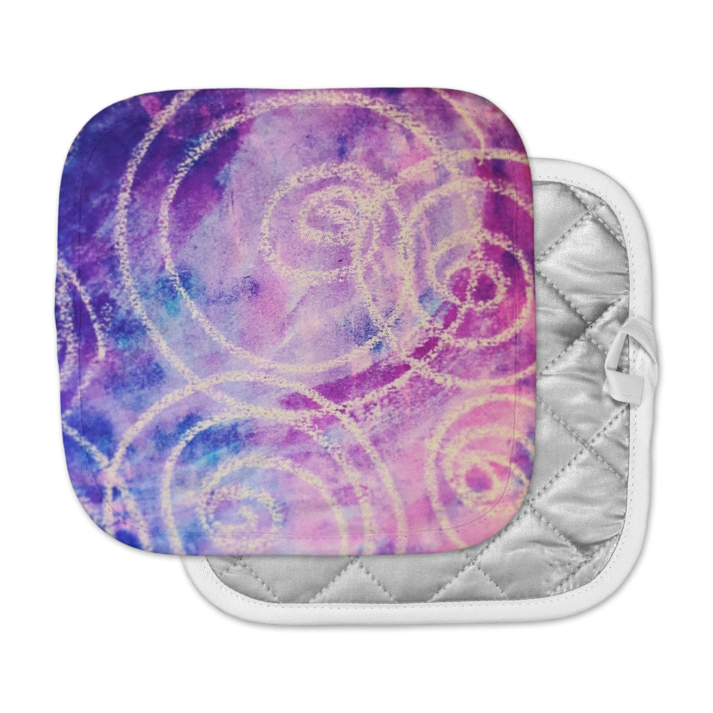 "Liz Perez ""Vortex"" Purple Multicolor Watercolor Pot Holder"
