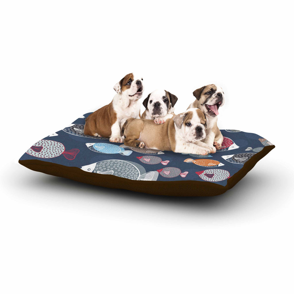 "Melissa Armstrong ""Swim School"" Blue Red Dog Bed - KESS InHouse  - 1"