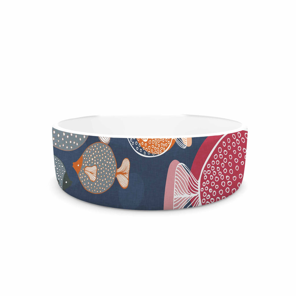 "Melissa Armstrong ""Swim School"" Blue Red Pet Bowl - KESS InHouse"