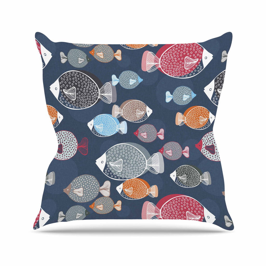 "Melissa Armstrong ""Swim School"" Blue Red Throw Pillow - KESS InHouse  - 1"