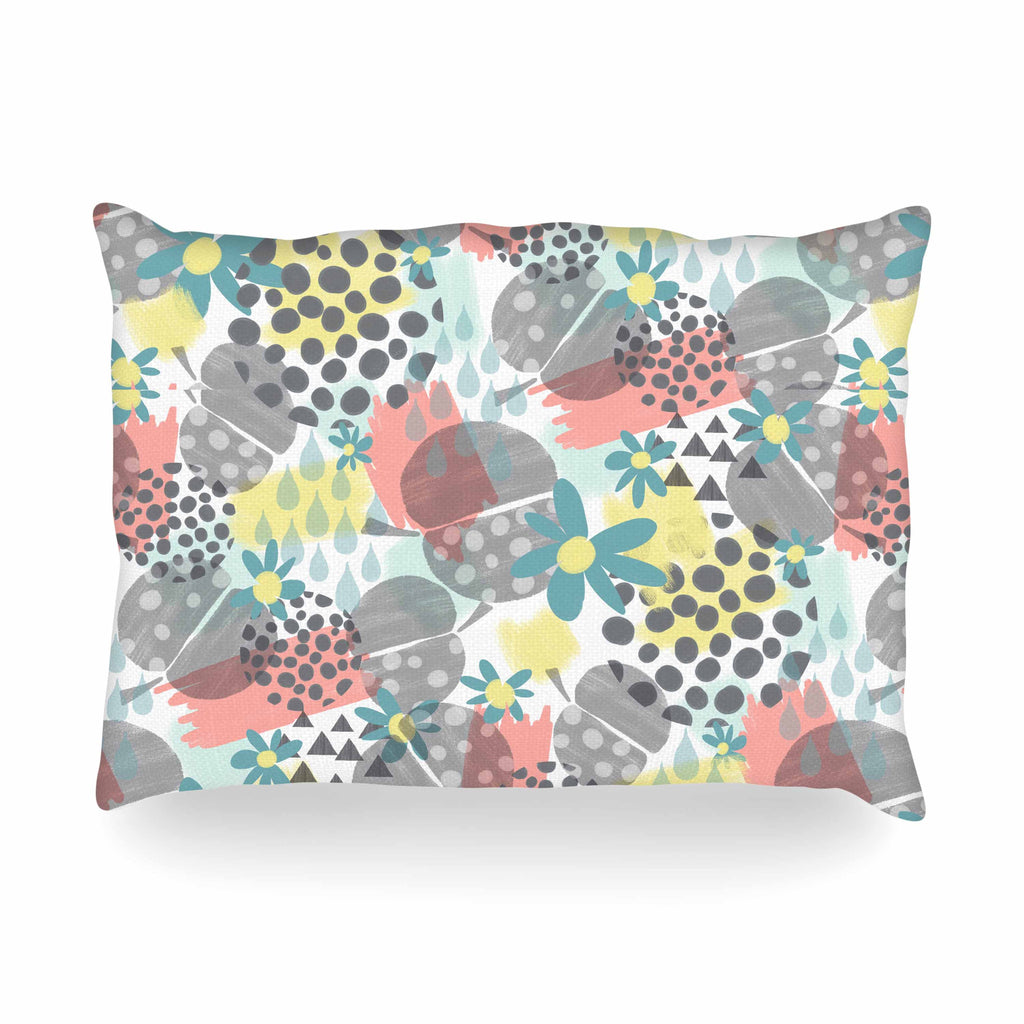 "Melissa Armstrong ""Apples, Drops & Blooms"" Multicolor Pink Digital Oblong Pillow"