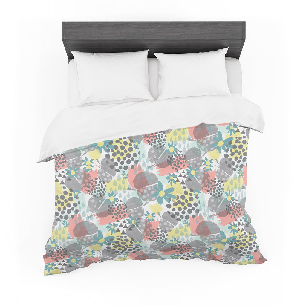"Melissa Armstrong ""Apples, Drops & Blooms"" Multicolor Pink Digital Featherweight Duvet Cover"