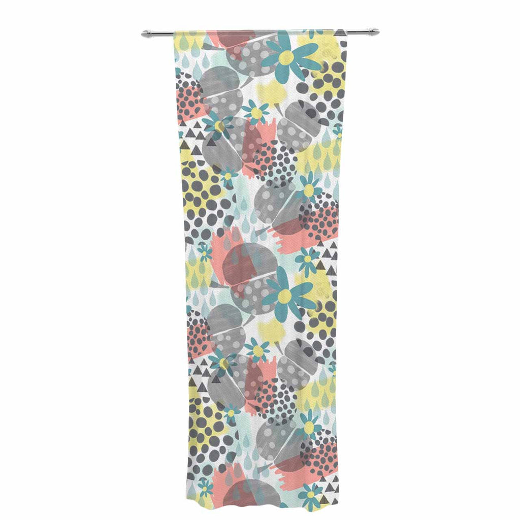 "Melissa Armstrong ""Apples, Drops & Blooms"" Multicolor Pink Digital Decorative Sheer Curtain"