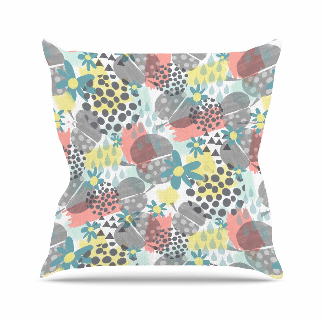 "Melissa Armstrong ""Apples, Drops & Blooms"" Multicolor Pink Digital Throw Pillow"