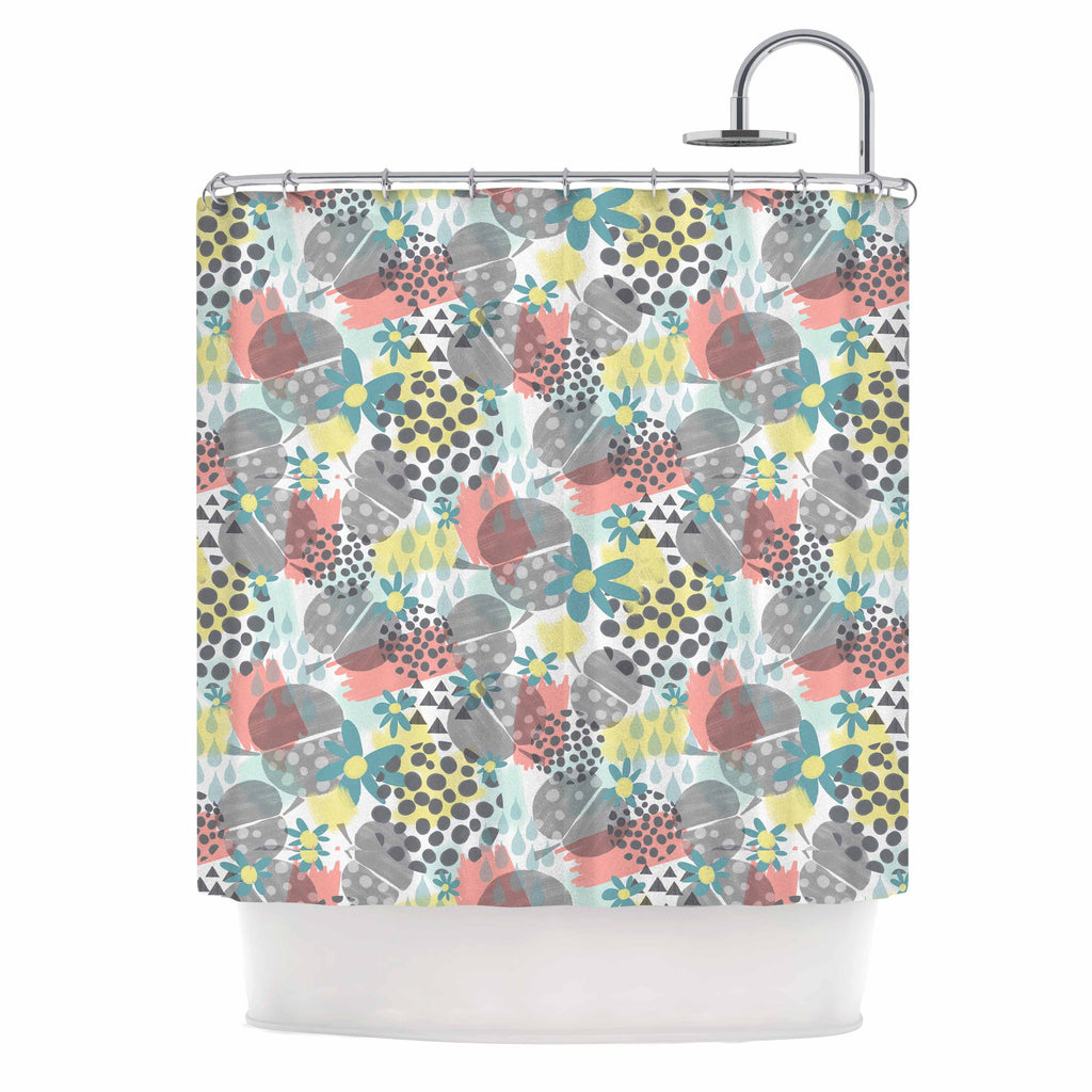 "Melissa Armstrong ""Apples, Drops & Blooms"" Multicolor Pink Digital Shower Curtain"