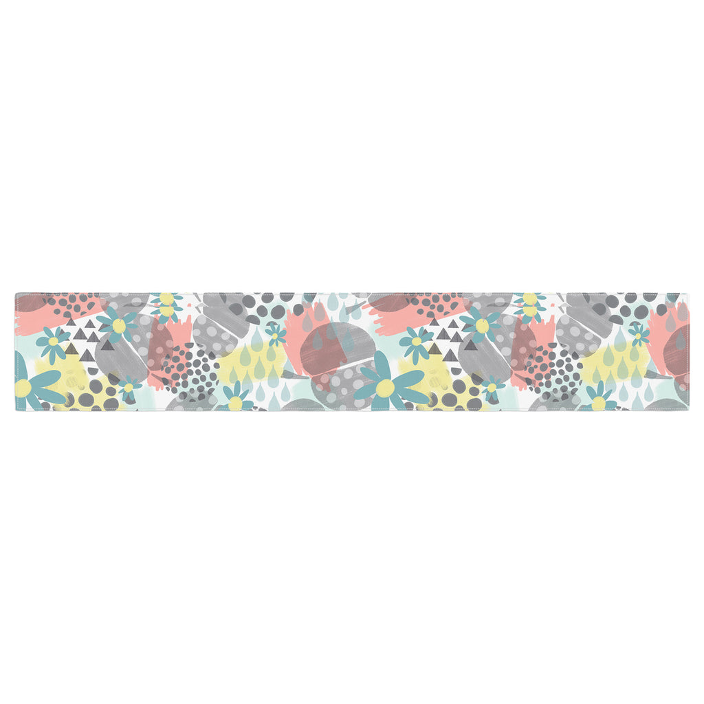 "Melissa Armstrong ""Apples, Drops & Blooms"" Multicolor Pink Digital Table Runner"