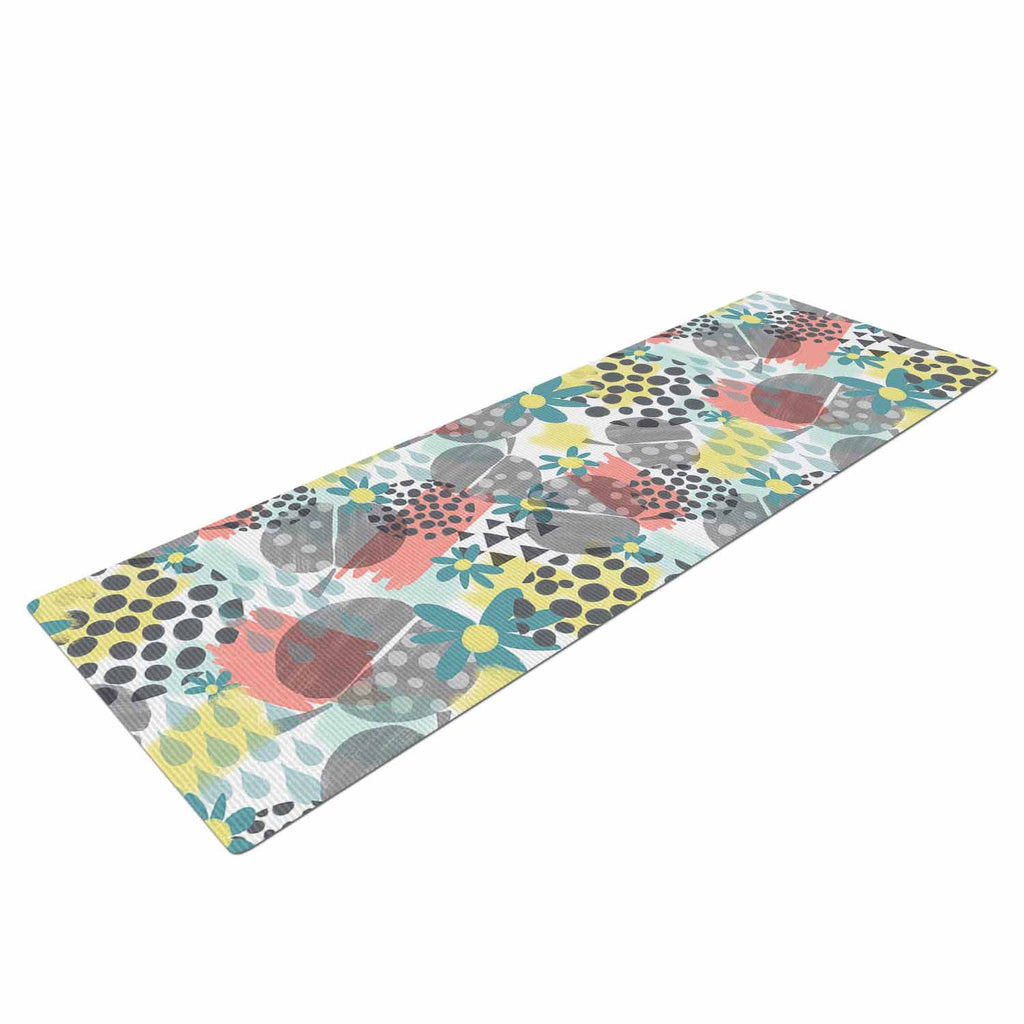 "Melissa Armstrong ""Apples, Drops & Blooms"" Multicolor Pink Digital Yoga Mat"