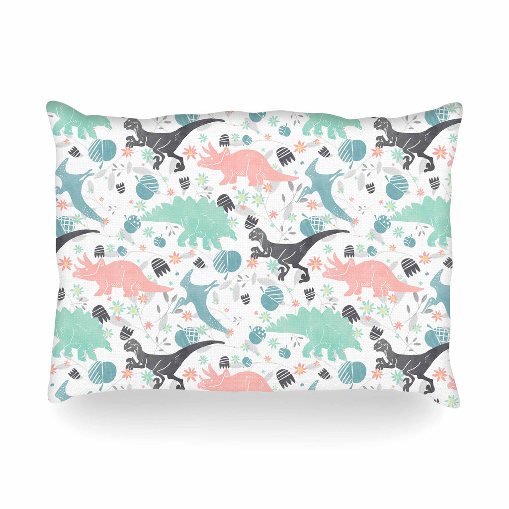 "Melissa Armstrong ""Florasaurus"" Multicolor Pink Digital Oblong Pillow"