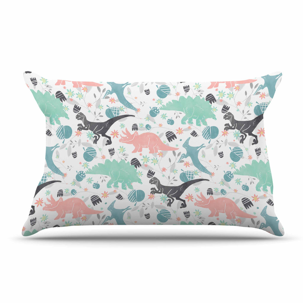 "Melissa Armstrong ""Florasaurus"" Multicolor Pink Digital Pillow Sham"
