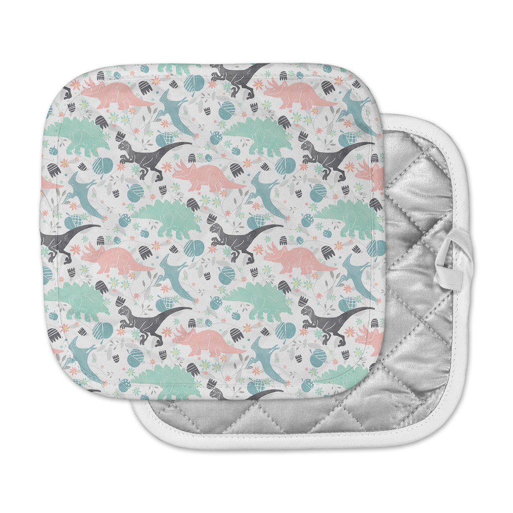 "Melissa Armstrong ""Florasaurus"" Multicolor Pink Digital Pot Holder"