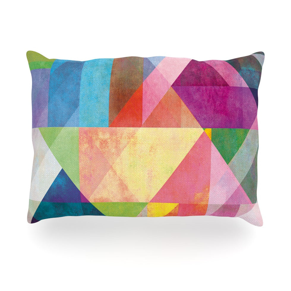 "Mareike Boehmer ""Color Blocking"" Rainbow Abstract Oblong Pillow - KESS InHouse"
