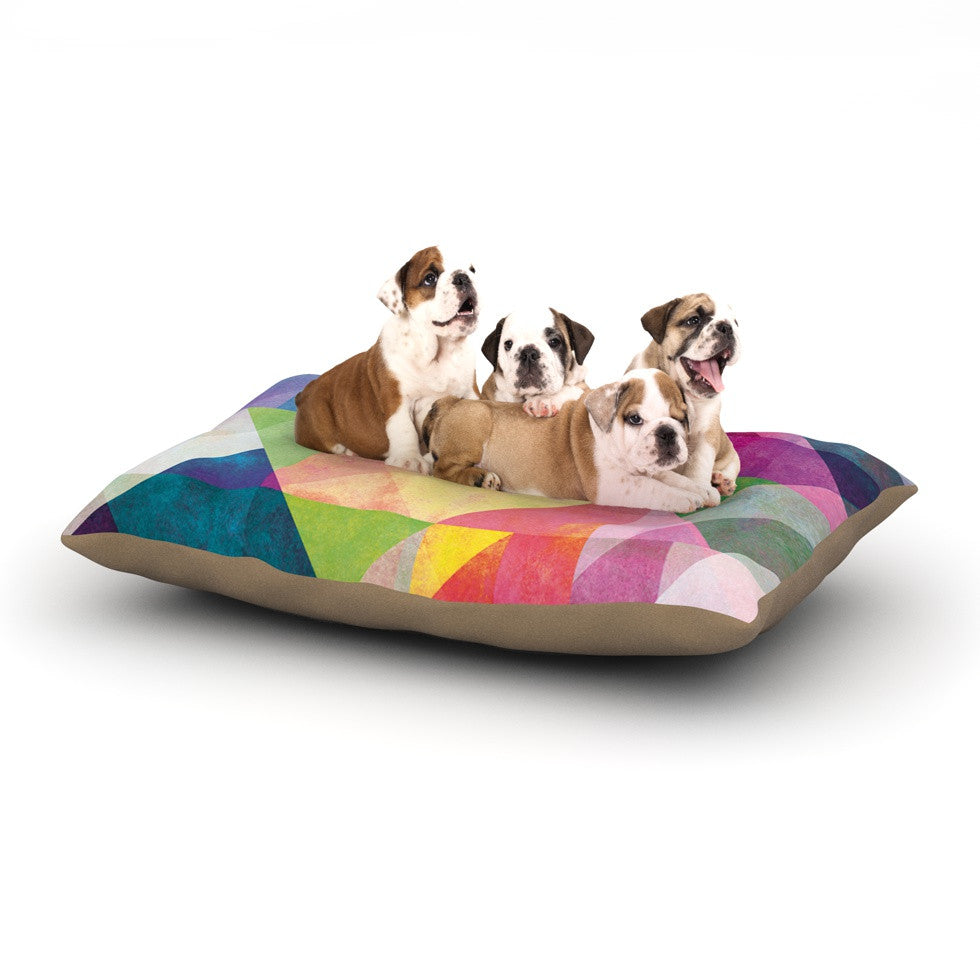 "Mareike Boehmer ""Color Blocking"" Rainbow Abstract Dog Bed - KESS InHouse  - 1"