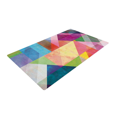 "Mareike Boehmer ""Color Blocking"" Rainbow Abstract Woven Area Rug - Outlet Item"