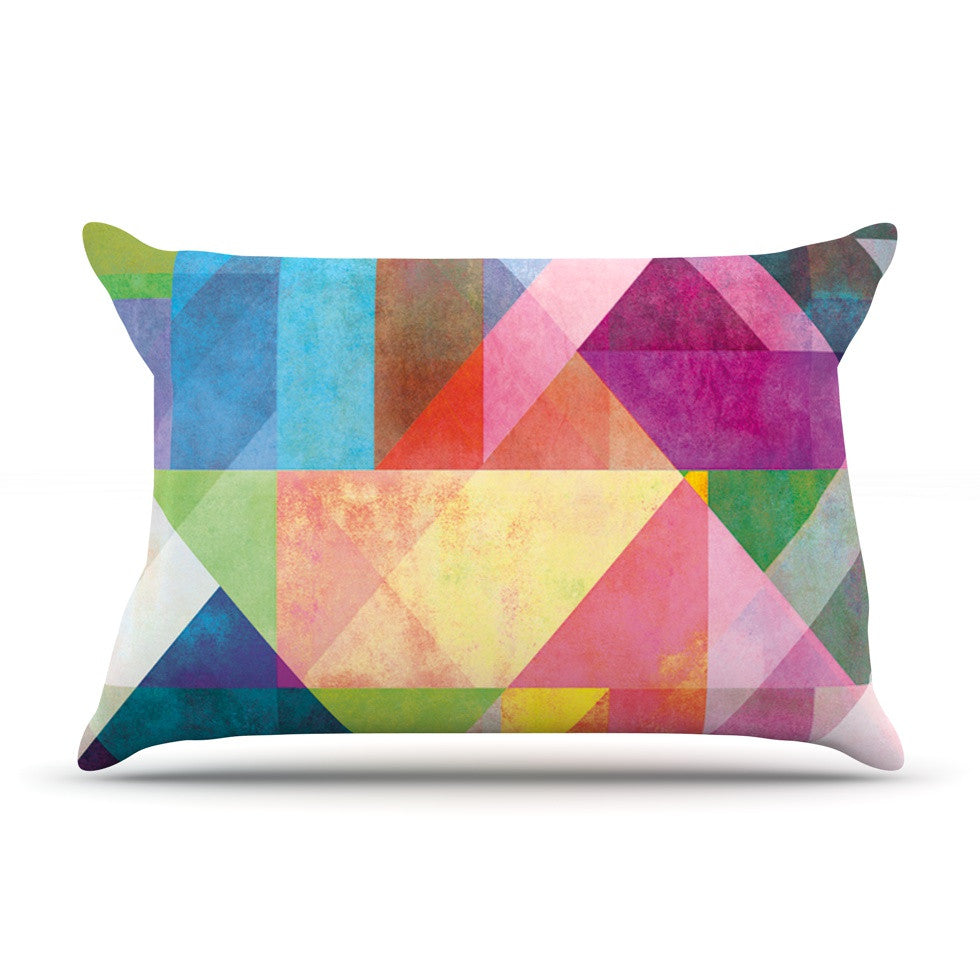 "Mareike Boehmer ""Color Blocking"" Rainbow Abstract Pillow Sham - KESS InHouse"