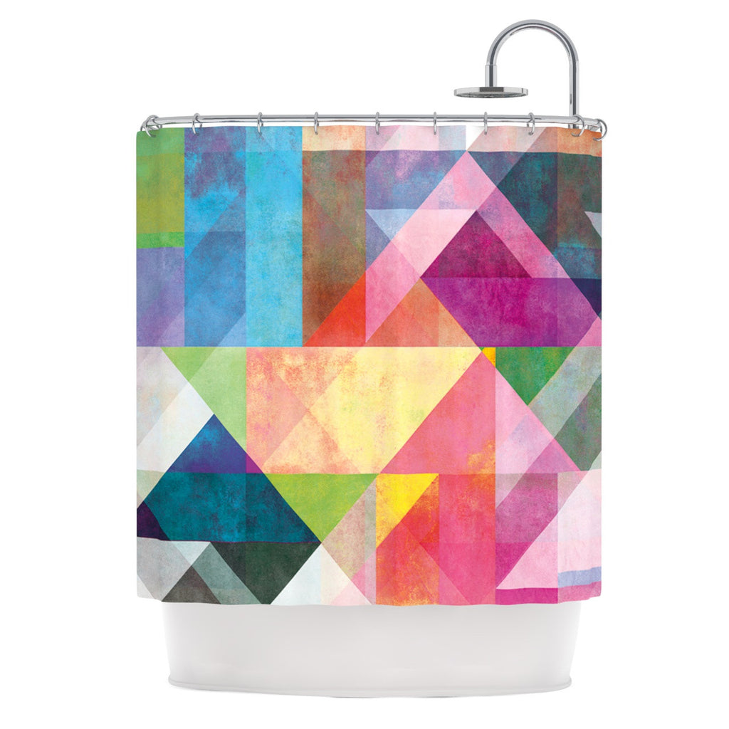 "Mareike Boehmer ""Color Blocking"" Rainbow Abstract Shower Curtain - KESS InHouse"