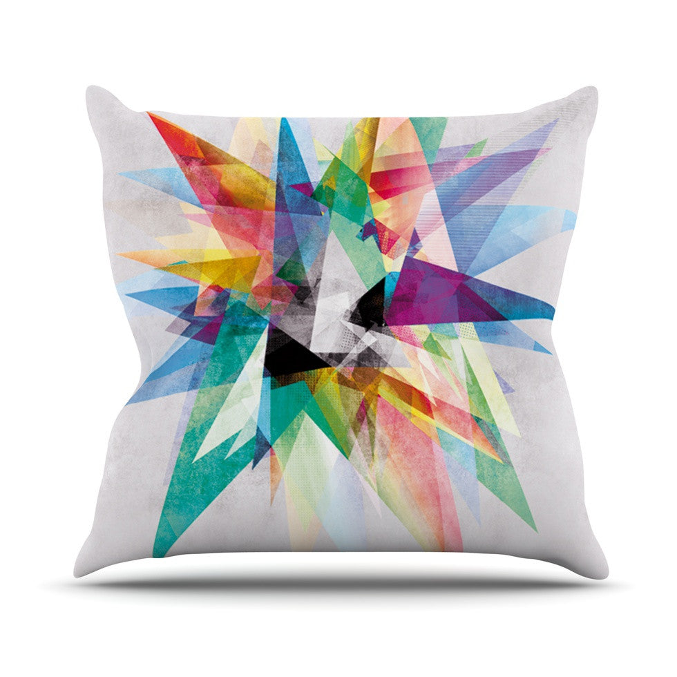 "Mareike Boehmer ""Colorful"" Rainbow Abstract Outdoor Throw Pillow - KESS InHouse  - 1"