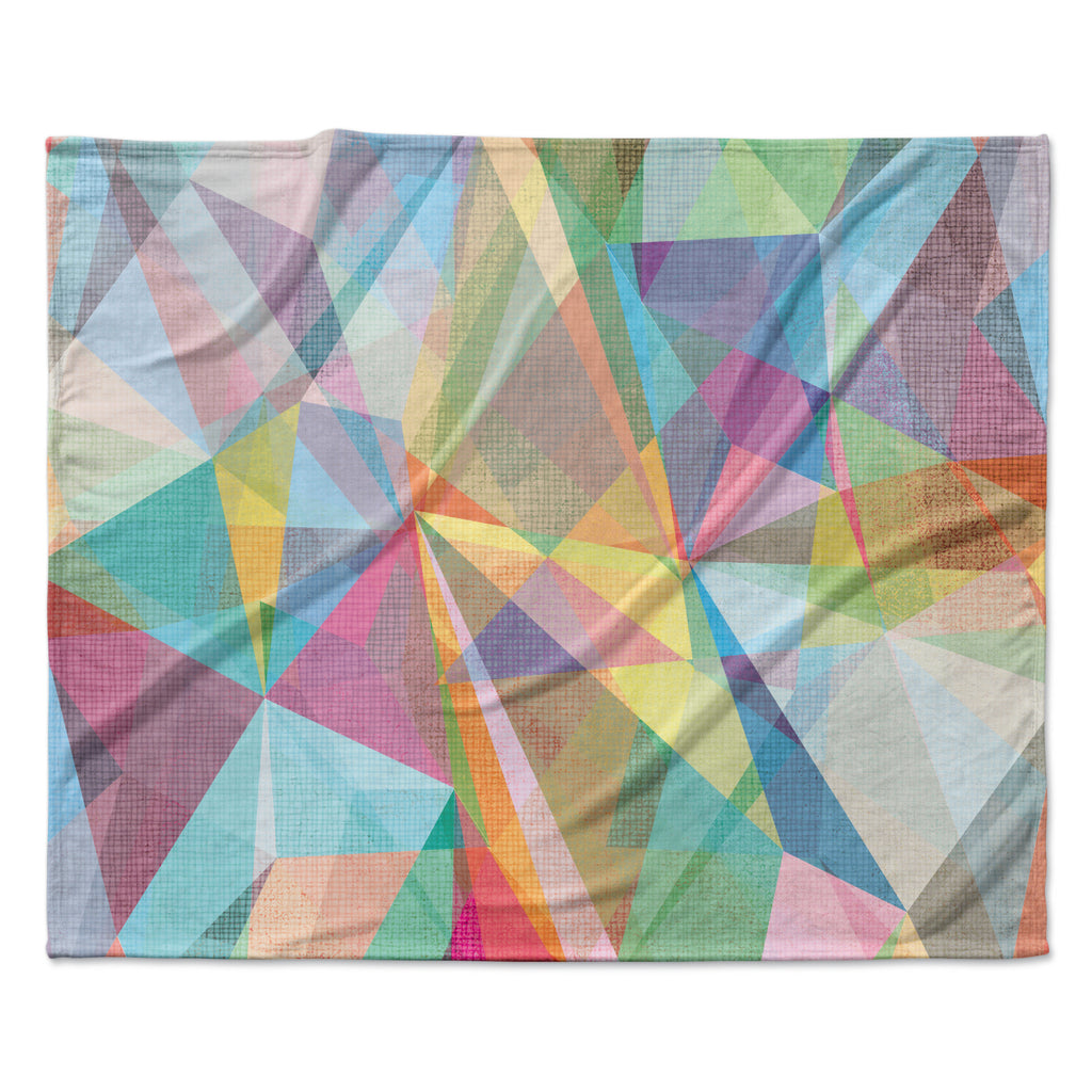 "Mareike Boehmer ""Graphic 32"" Rainbow Abstract Fleece Throw Blanket"