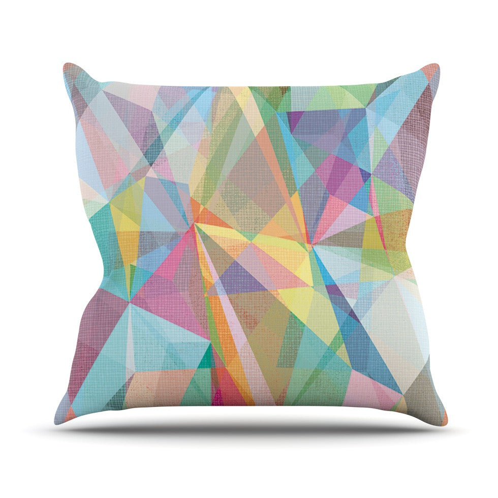 "Mareike Boehmer ""Graphic 32"" Rainbow Abstract Outdoor Throw Pillow - KESS InHouse  - 1"
