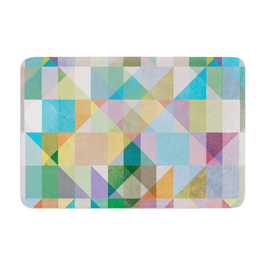 "Mareike Boehmer ""Graphic 74"" Rainbow Abstract Memory Foam Bath Mat - KESS InHouse"