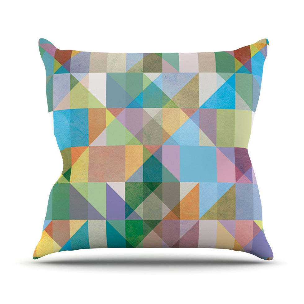 "Mareike Boehmer ""Graphic 74"" Rainbow Abstract Outdoor Throw Pillow - KESS InHouse  - 1"
