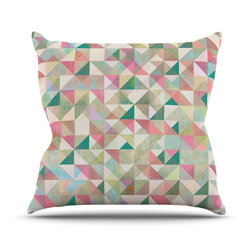 "Mareike Boehmer ""Graphic 75"" Teal Pink Outdoor Throw Pillow - KESS InHouse  - 1"