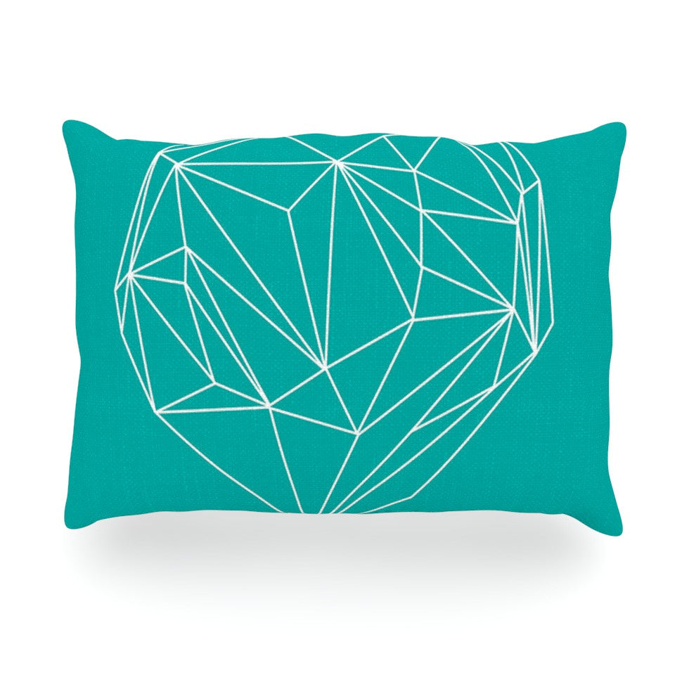 "Mareike Boehmer ""Heart Graphic Turquoise"" Teal Abstract Oblong Pillow - KESS InHouse"