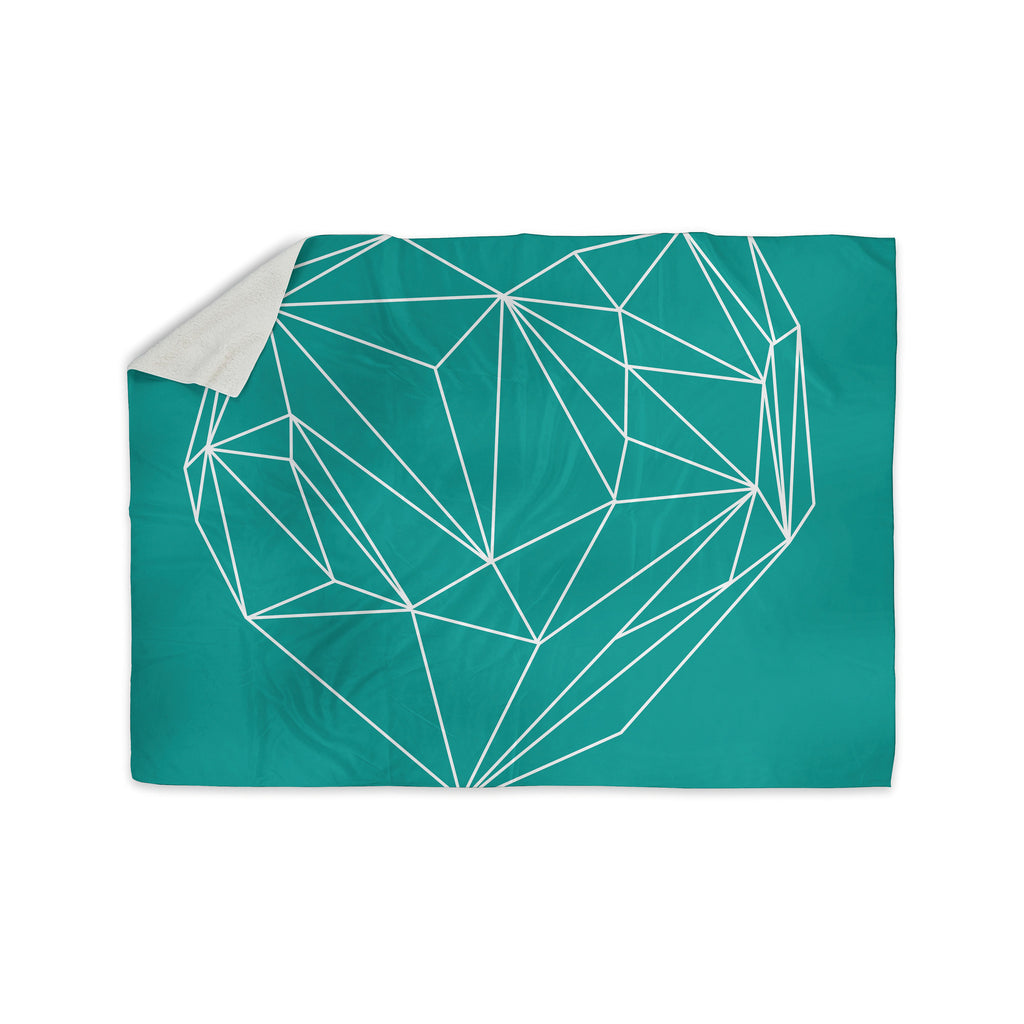 "Mareike Boehmer ""Heart Graphic Turquoise"" Teal Abstract Sherpa Blanket - KESS InHouse  - 1"