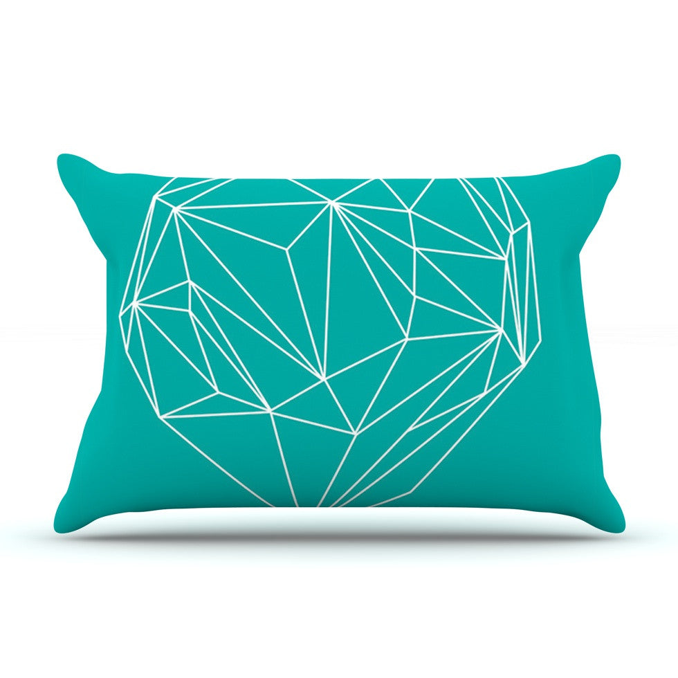 "Mareike Boehmer ""Heart Graphic Turquoise"" Teal Abstract Pillow Sham - KESS InHouse"