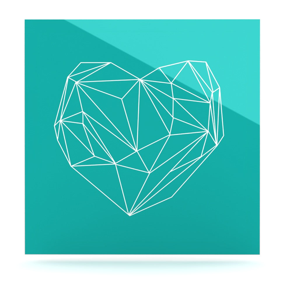 "Mareike Boehmer ""Heart Graphic Turquoise"" Teal Abstract Luxe Square Panel - KESS InHouse  - 1"