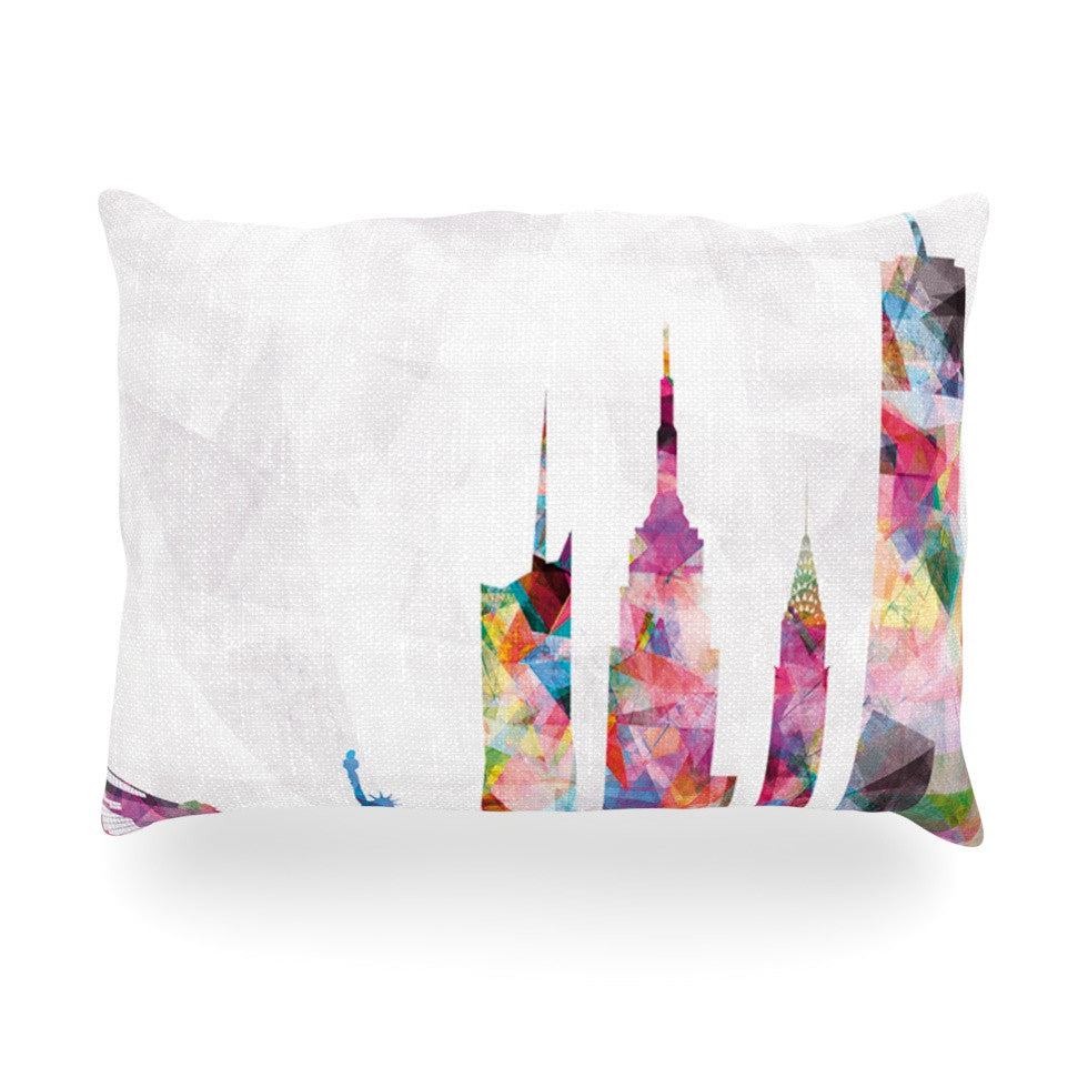 "Mareike Boehmer ""New York"" Rainbow City Oblong Pillow - KESS InHouse"