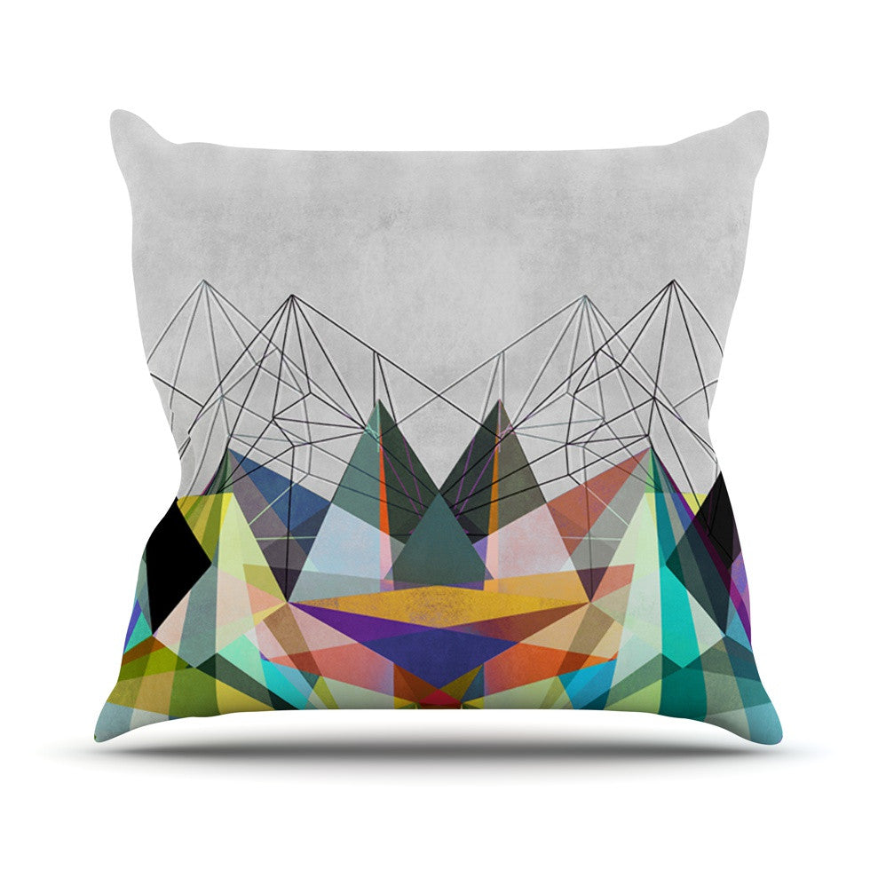 "Mareike Boehmer ""Colorflash 3X"" Grey Rainbow Outdoor Throw Pillow - KESS InHouse  - 1"