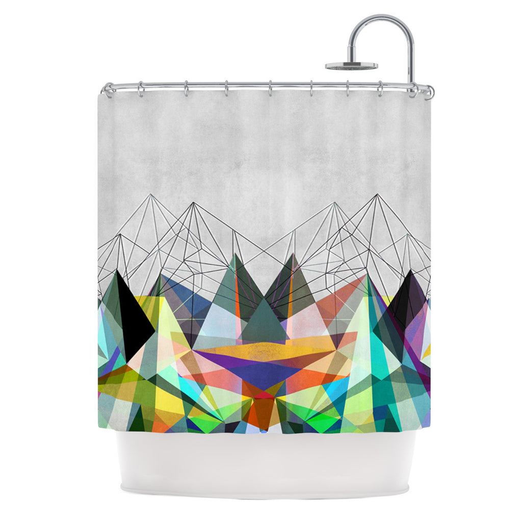 "Mareike Boehmer ""Colorflash 3X"" Grey Rainbow Shower Curtain - KESS InHouse"