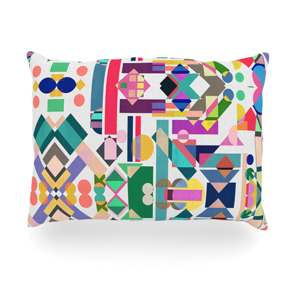 "Mareike Boehmer ""Geometry 2B"" Abstract Rainbow Oblong Pillow - KESS InHouse"
