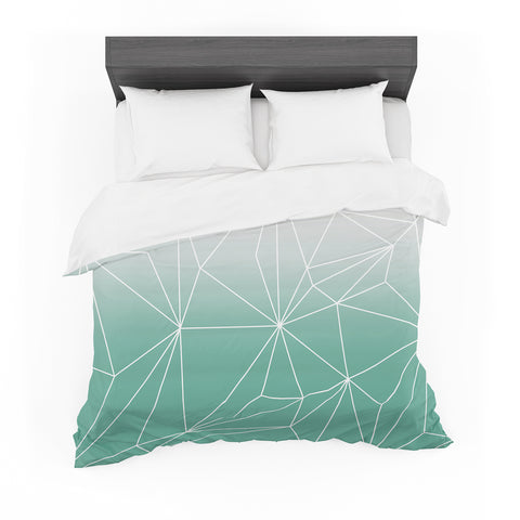 "Mareike Boehmer ""Simplicity"" Teal White Featherweight Duvet Cover - Outlet Item"