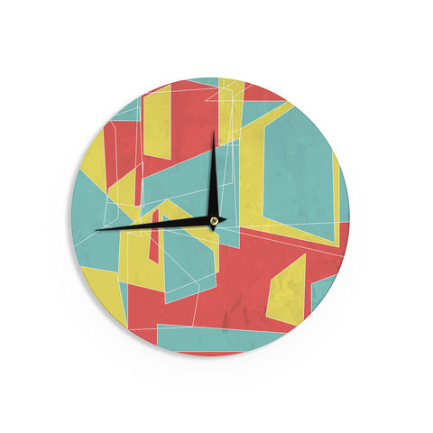 "MaJoBV ""Cartagena Balconies"" Teal Red YellowWall Clock - Outlet Item"