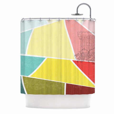 "MaJoBV ""Cartagena Balconies"" Teal Red Yellow Shower Curtain - Outlet Item - KESS InHouse"